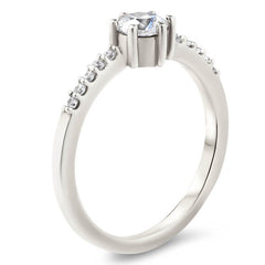 Thin Diamond Band Engagement Ring Six Prong Moissanite Center Stone - Moissanite Rings