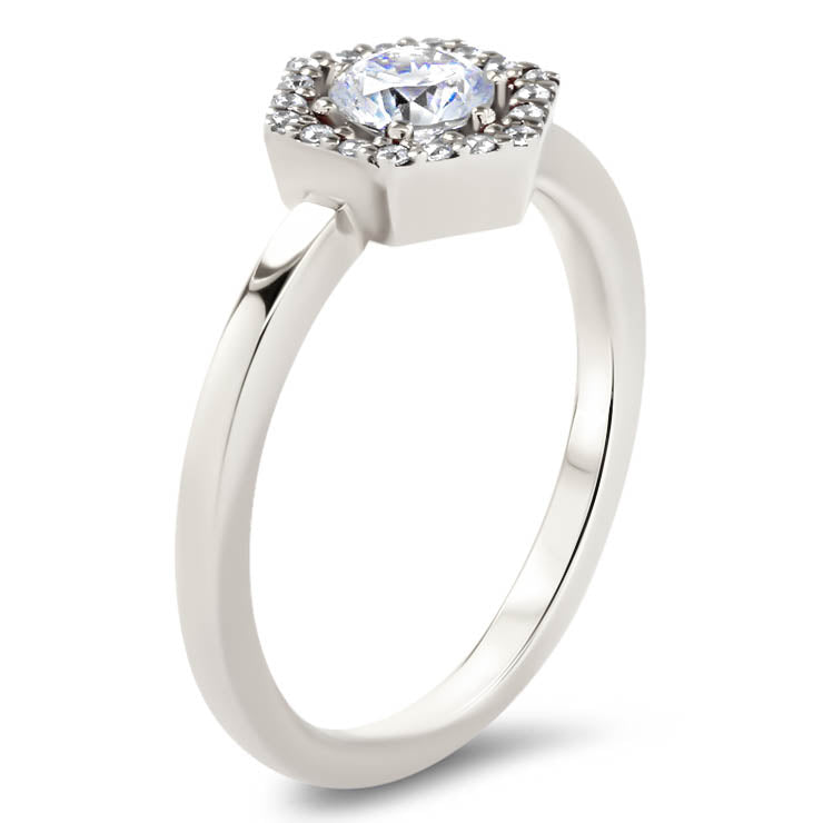 Hexagon Halo Diamond and Moissanite Engagement Ring Unique Ring  - Harper - Moissanite Rings