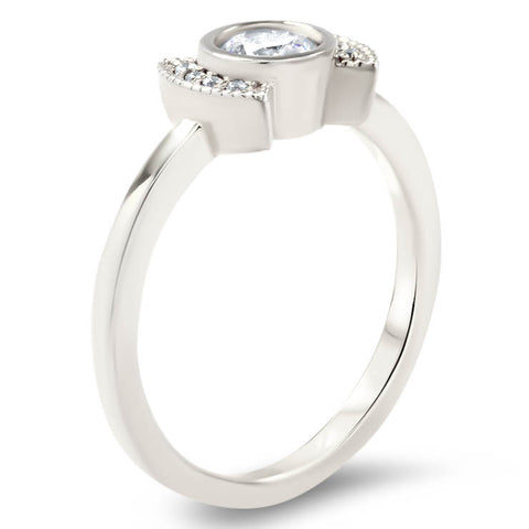 Moissanite Diamond Setting Bezel Set Engagement Ring - Cora - Moissanite Rings