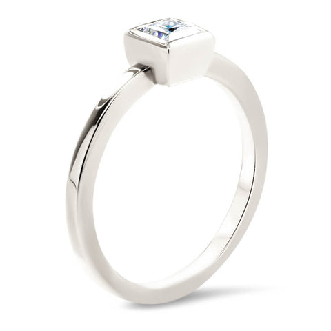 Princess Cut Moissanite Engagement Ring Thin Band Bezel Set Ring - Meghan