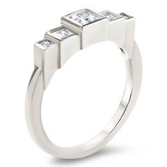 Princess Cut Diamond Engagement Ring Setting Moissanite Center Stone Unique Ring - Brooklyn