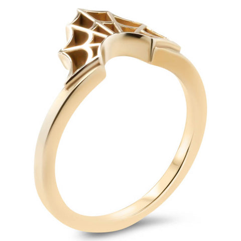 Spider Web Wedding Band  Web Ring Curved Band - Web