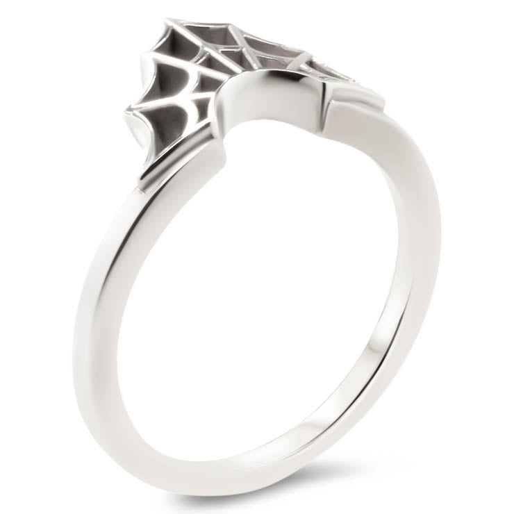 Spider Web Wedding Band  Web Ring Curved Band - Web - Moissanite Rings