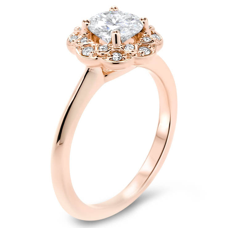 Floral Diamond Halo Forever One Moissanite Engagement Ring - Flor - Moissanite Rings