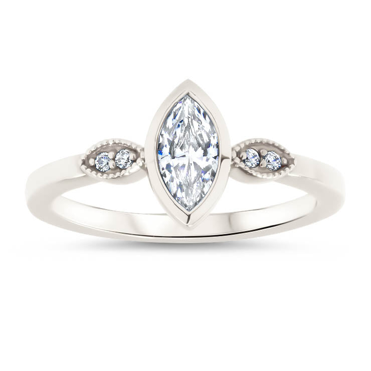 Bezel Set Marquise Moissanite Center Stone Diamond Setting Unique Style Ring - Elizabeth - Moissanite Rings
