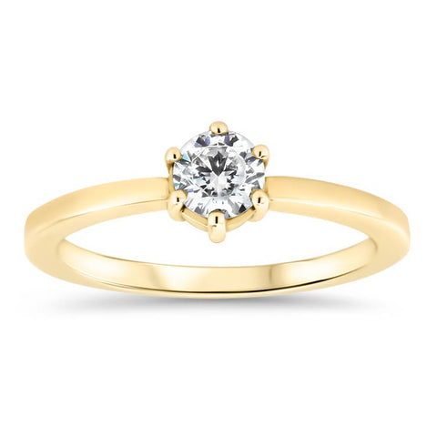 Dainty Solitaire  Engagement Ring Minimalist Design Six Prong Setting Moissanite Center - Natalie - Moissanite Rings