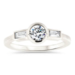 Diamond Baguette and Round Center Engagement Ring Moissanite Diamond Thin Band Ring - Claire - Moissanite Rings