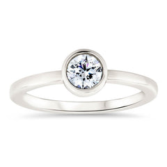 Round Forever One Moissanite Engagement Ring Bezel Set Ring - Ronda - Moissanite Rings