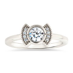 Moissanite Diamond Setting Bezel Set Engagement Ring - Cora
