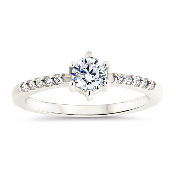 Thin Diamond Band Engagement Ring Six Prong Petite Moissanite Center Stone - Sara - Moissanite Rings