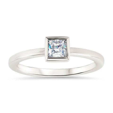 Princess Cut Moissanite Engagement Ring Thin Band Bezel Set Ring - Meghan - Moissanite Rings