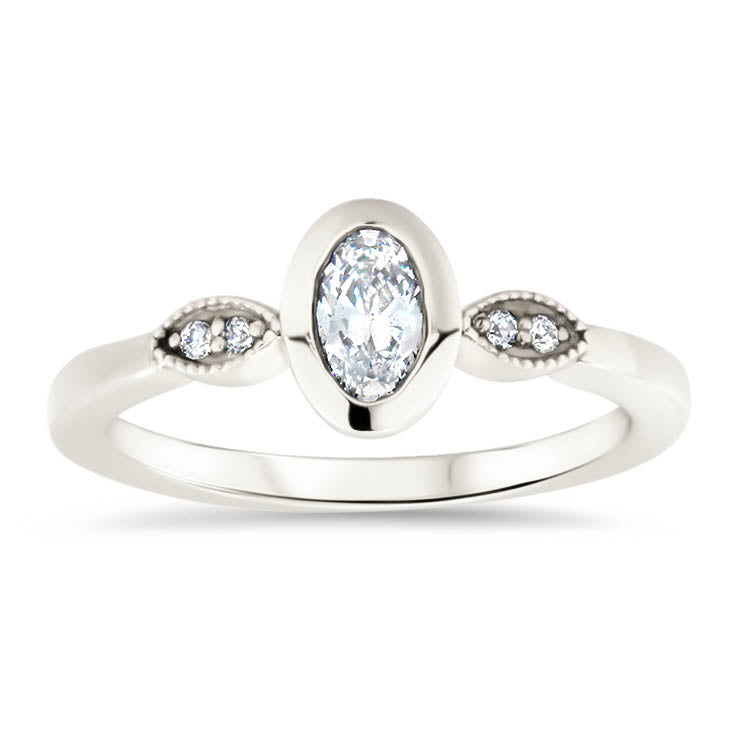 Oval Moissanite Engagement Ring Moissanite Diamond Setting Thin Band Ring - Madison