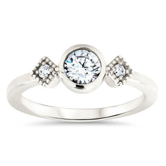 Round Moissanite Engagement Ring Diamond Side Stones Thin Band Setting - Alice