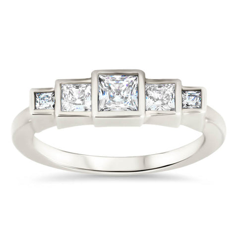 Princess Cut Diamond Engagement Ring Setting Moissanite Center Stone Unique Ring - Brooklyn - Moissanite Rings