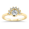 Half Halo Moissanite Engagement Ring Diamond Setting Bezel Set Ring - Isabella - Moissanite Rings