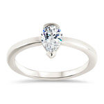 Half Bezel Moissanite Engagement Ring Pear Shaped Solitaire Engagement Ring - Gabriella - Moissanite Rings