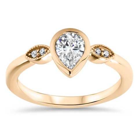 Pear Moissanite Engagement Ring Diamond Setting Moissanite Ring - Avery - Moissanite Rings