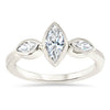 Dainty Marquise Bezel Set Diamond Moissanite Engagement Ring - Zelda - Moissanite Rings