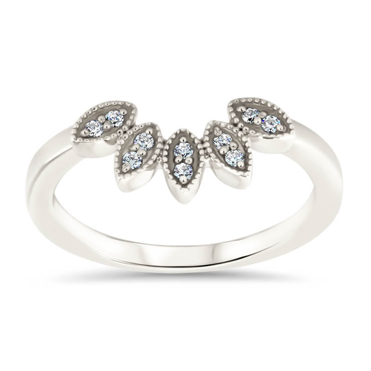 Marquise Shaped Peacock Style Diamond Wedding Band Curved Diamond Band Stacking Band - Pia - Moissanite Rings