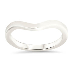 Plain Band Curved Wedding Band Shaped Band - Fourteen - Moissanite Rings
