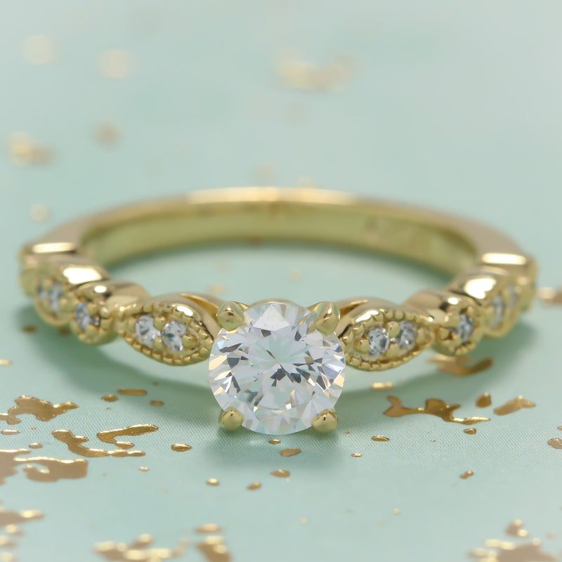 Vintage Inspired Engagement Ring Setting - Sweet Bliss - Moissanite Rings