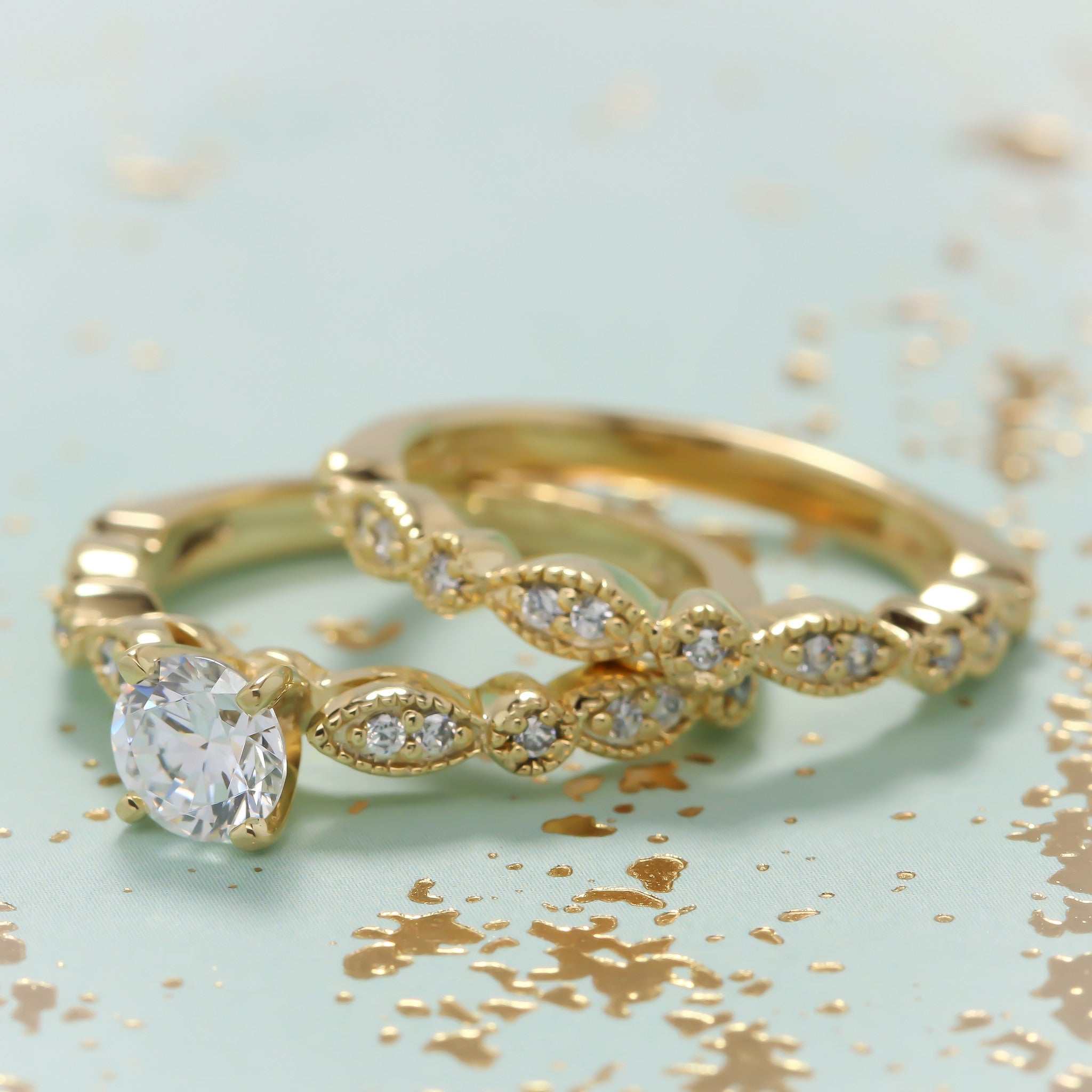 Vintage Inspired Engagement Ring and Wedding Band Sweet Bliss