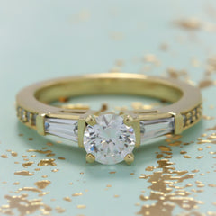 Tapered Baguette Diamond Engagement Ring Setting Moissanite Center  - Maxine - Moissanite Rings