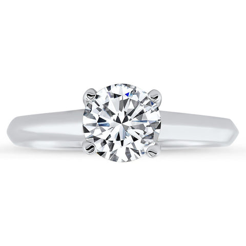 REVISED DESIGN  Criss Cross Solitaire Engagement Ring Forever One Solitaire - Sly 6 prong - Moissanite Rings