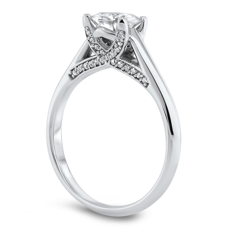 Criss Cross Solitaire Engagement Ring Forever One Solitaire - Sly - Moissanite Rings