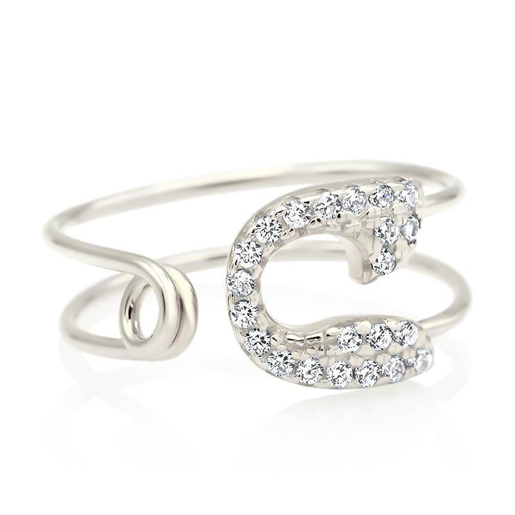 Diamond Safety Pin Ring
