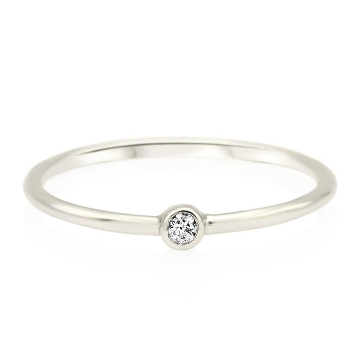 Tiny Bezel Diamond Ring