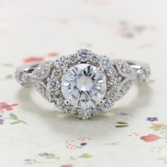 Vintage Floral Style Halo Diamond and Moissanite Engagement Ring - Lilly - Moissanite Rings