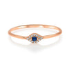 Dainty Evil Eye Ring Blue Sapphire Center