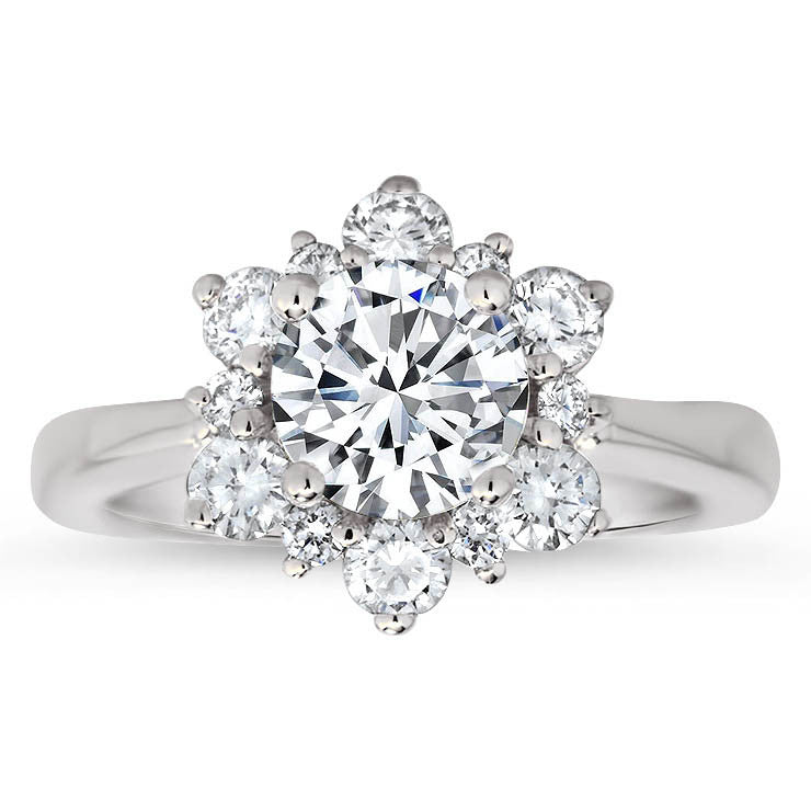 Snowflake Style Engagement Ring Plain Band Moissanite Center and Halo- Snowflake II Moissanite