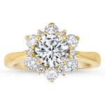 Snowflake Style Engagement Ring Plain Band Moissanite Center and Halo- Snowflake II Moissanite - Moissanite Rings
