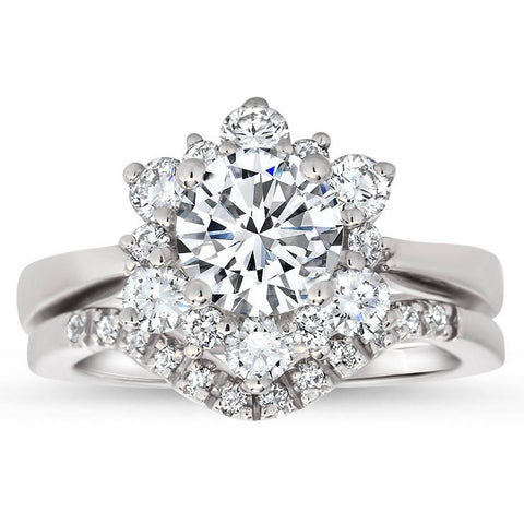 Snowflake Style Engagement Ring Plain Band Diamond Halo Matching Diamond Wedding Band - Snowflake II Set - Moissanite Rings