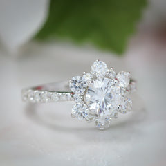 Snowflake Inspired Diamond Halo Moissanite Engagement Ring - Snowflake - Moissanite Rings