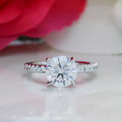 Single Row Diamond Engagement Ring Moissanite Center - Bali