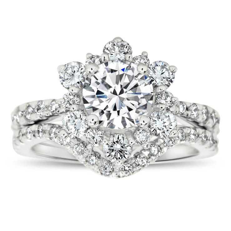 Diamond Snowflake Wedding Set Engagement Ring and Wedding Band