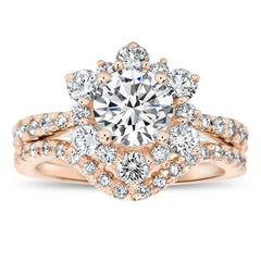 Diamond Snowflake Wedding Set Engagement Ring and Wedding Band - Snowflake Set - Moissanite Rings