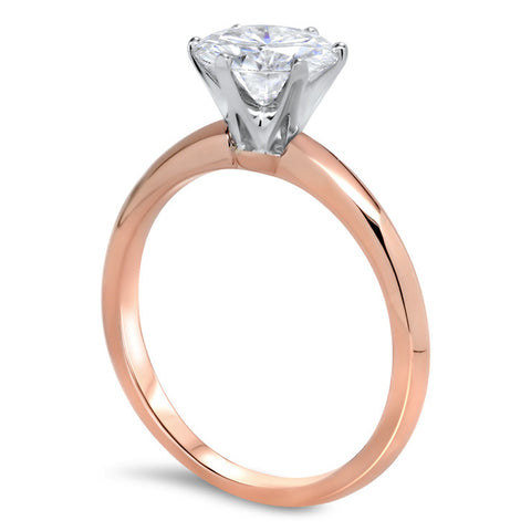 Two Tone Knife Edge Solitaire Engagement Ring - Tiff