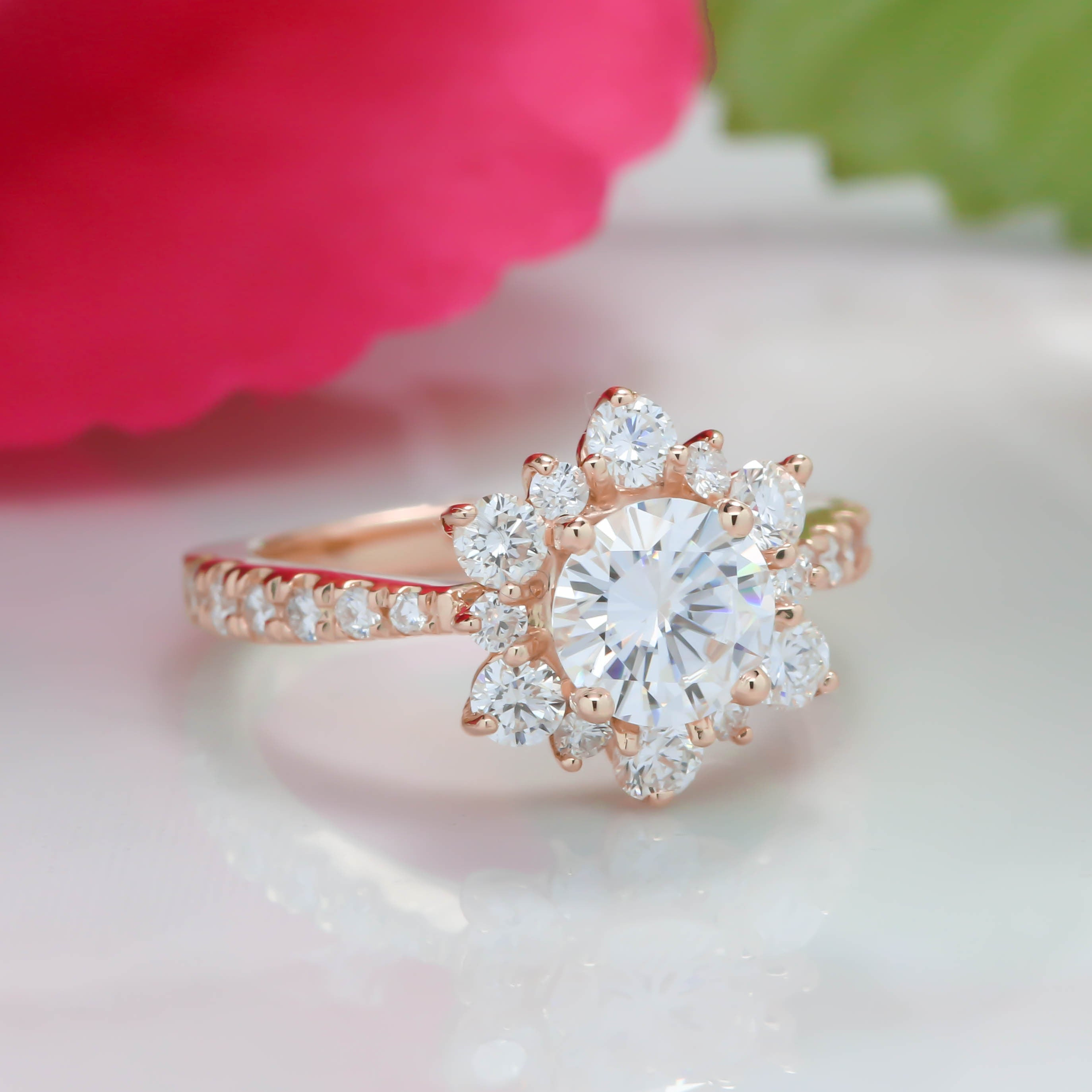 Snowflake Inspired Diamond Halo Moissanite Engagement Ring