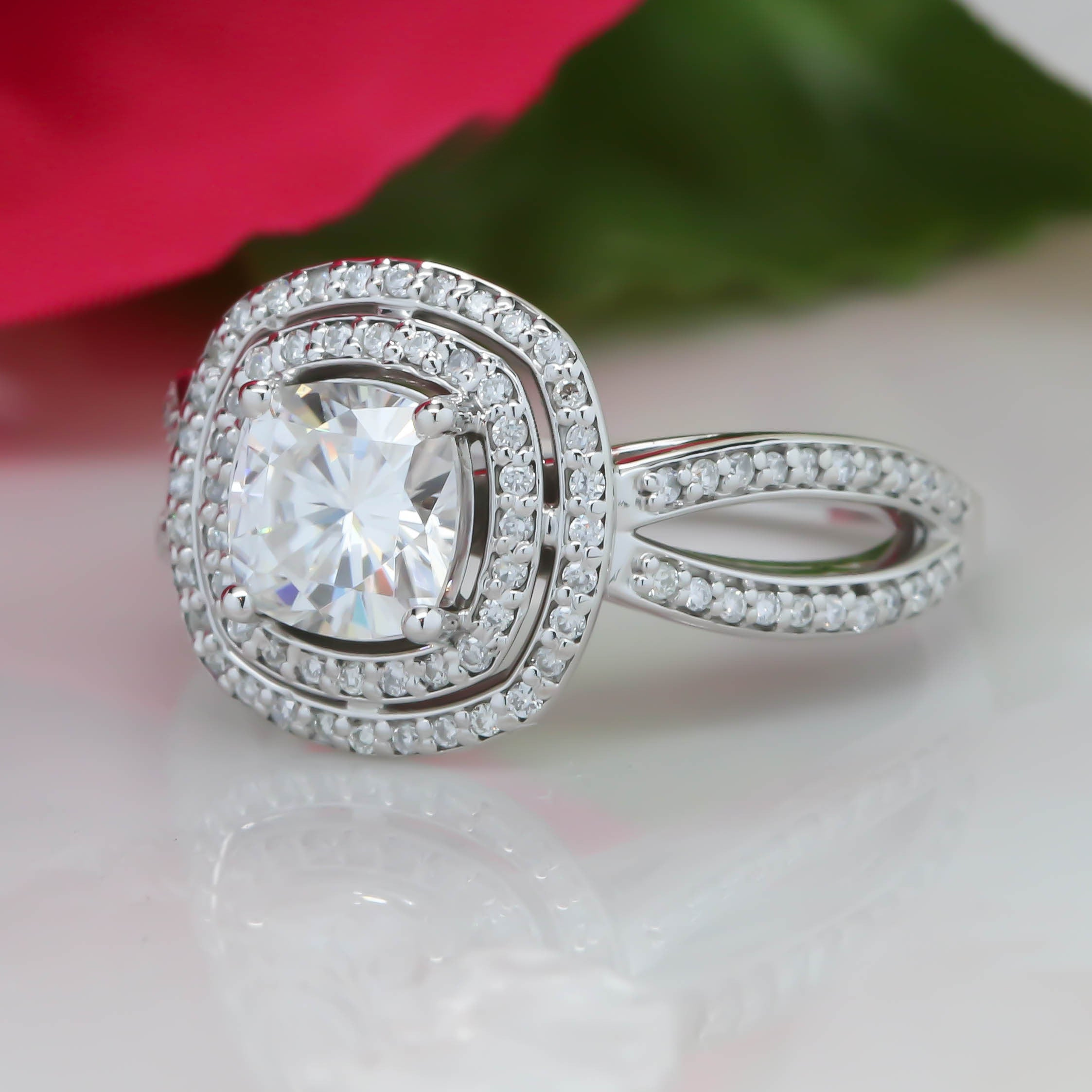 pierre double engagement jean w g halo rings emerald jewelers ring cut diamond img