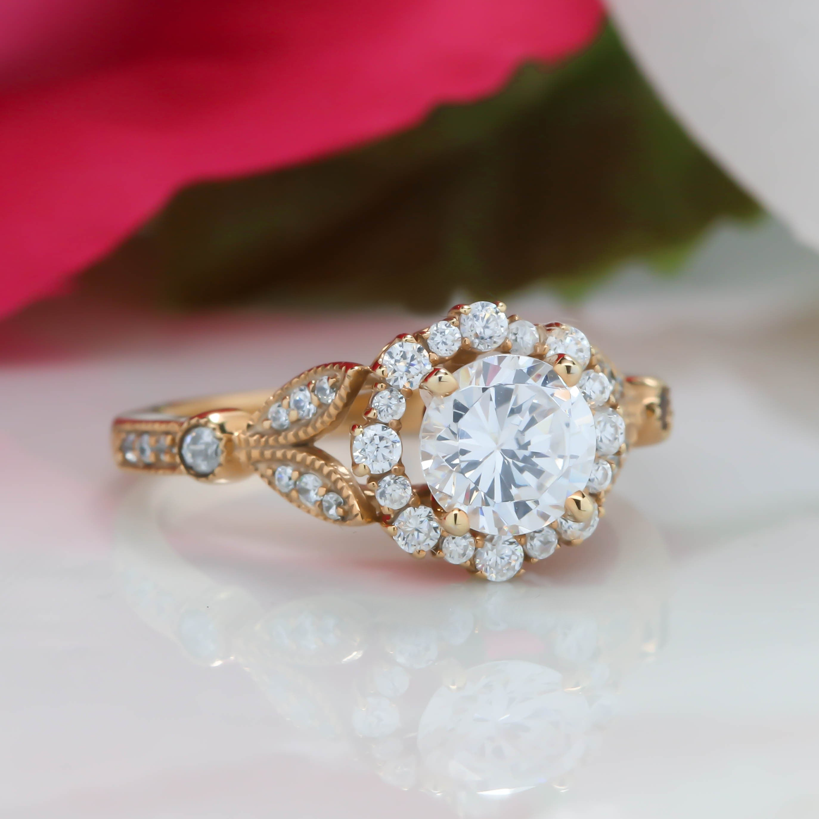 Vintage Floral Style Halo Diamond and Moissanite Engagement Ring