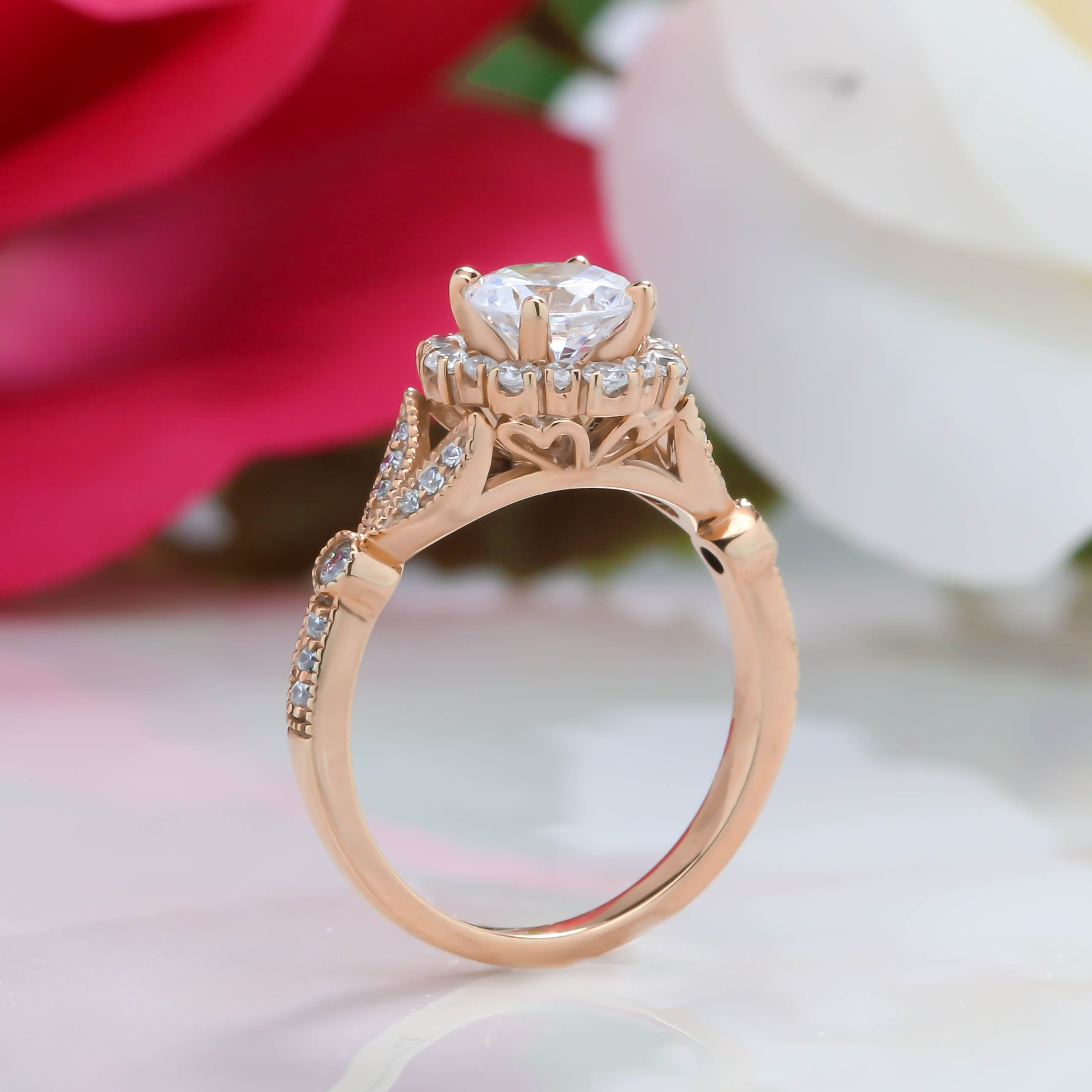 Reserved For Client Payment 1  Vintage Floral Style Halo Diamond and Moissanite Engagement Ring - Lilly RP