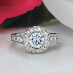 Bezel Set Diamond Engagement Ring Forever One Moissanite Center - Callie - Moissanite Rings