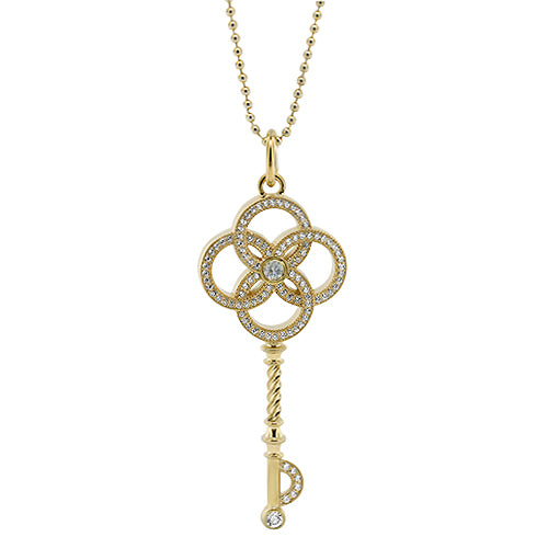 Diamond Key Necklace - Moissanite Rings