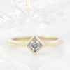 Kite Set Square Moissanite Engagement Ring Bezel Set Ring - Kate - Moissanite Rings