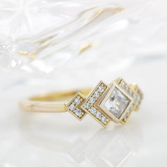 Princess Cut Bezel Set Moissanite Engagement Ring Diamond Setting Kite Set Stone - Empire
