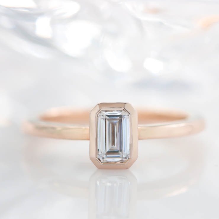 Emerald Cut Moissanite Engagement Ring Bezel Set Stone Thin Band - Esmeralda - Moissanite Rings